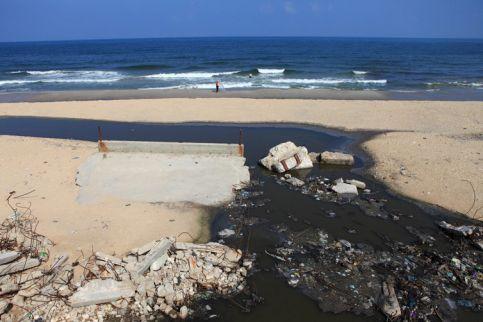 Raw Sewage on a Gaza beach